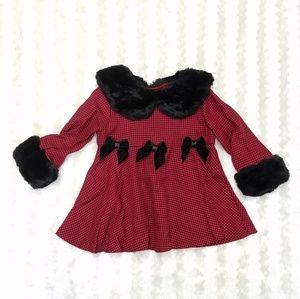 Jessica Ann Infant Red Black Winter Dress Sz 6/9M